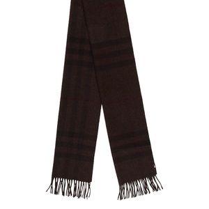 Burberry Cashmere Classic Check Scarf Dark Brown